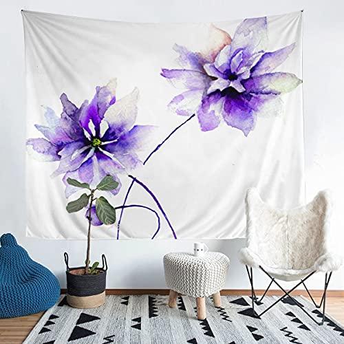 Tapiz de pared floral de acuarela para niños, niñas, adolescentes, estilo retro, para colgar en la pared, arte de pared natural para dormitorio, sala de estar, 152 x 201