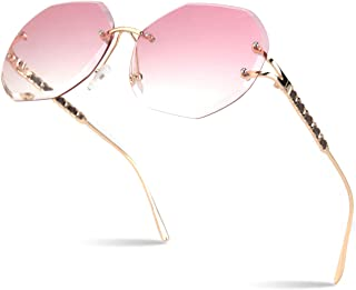 2019 New Design Round Rimless Sunglasses For Women Oversized Diamond Cutting Lens 100% UV400 S88