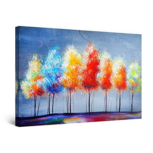 Startonight Quadro su Tela Sette Alberi Colorati - Grandi Quadri Moderni Astratti - Stampe Camere da Letto 80 x 120 cm