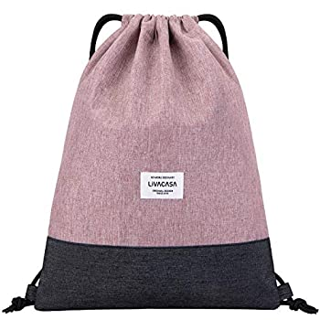 LIVACASA Drawstring Backpack Bag for Women Gym Drawstring Bag Pink