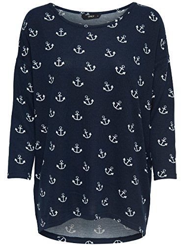 ONLY Damen Oversize Pullover Shirt ELCOS Anchor 4/5 TOP Anker Strick blau weiß (XL, dunkelblau mit weißen Ankern: Dark Navy AOP: Cloud Dancer)