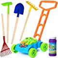 6 PCS Bubble Lawn Mower Bundle with Kids Shovel and Rake Gardening Tools Set Features Metal Kids Shovel with Wooden Handles & Battery Operated Bubble Mower