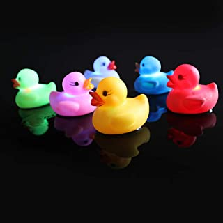 Baby Rubber Bath Duck Toys Light-Up Bath Toys Flashing Light (6 Pack) Baby Shower Tub Toys Color Changing in Water for Babies Kids
