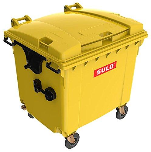 Mülltonne MGB 1100 Liter, 4-Rad-Behälter mit Flachdeckel (Gelb)