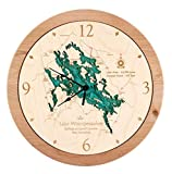 Lake Murray - Saluda County - SC - 3D Clock 17.5 in - Laser Carved Wood Nautical Chart and Topographic Depth map.