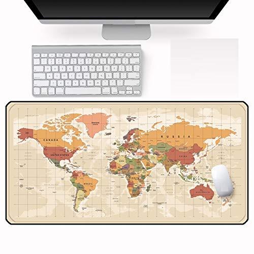 80X40Cm Alfombrilla de Ratón de Mapa Vintage Computadora Portátil Pc Teclado y Alfombrilla de Ratón Office Home Lavable Borde de Bloqueo Alfombrilla de Ratón 500X1000Mmx4Mm