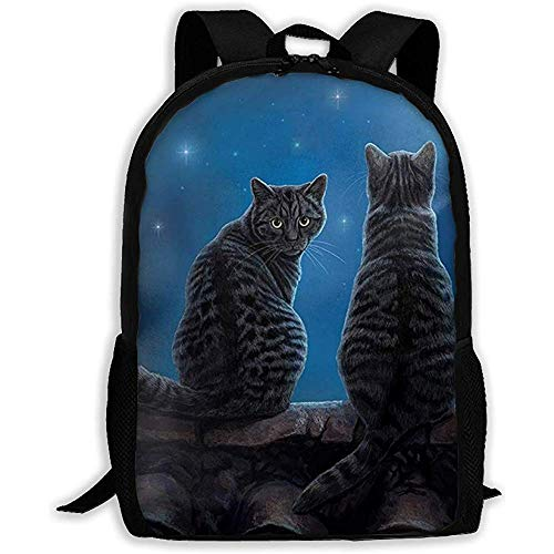 Lily-Shop Wish Cat Star Night Print Zaino per Adulti Zaino per Laptop Full Print Zaino per Adulti 43cm