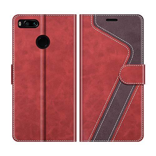 MOBESV Handyhülle für Xiaomi Mi A1 Hülle Leder, Xiaomi Mi A1 Klapphülle Handytasche Case für Xiaomi Mi A1 Handy Hüllen, Rot