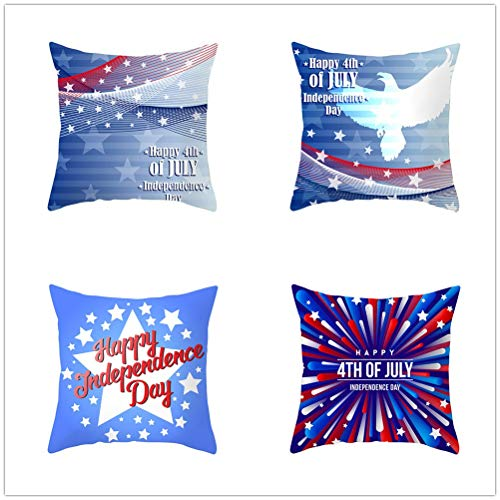 Set of 4 Pcs Throw Pillow Case Cushion Covers Blue Five-Pointed Star Velvet Soft Superfine Fiber Square Decor Throw Pillowcases for Living Room Sofa Car with Concealed Zip E4234 55x55cm/21.5x21.5in