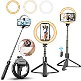 Selfie Stick with 6' Ring Light,Tripod and Phone Holder,3 in 1 Portable LED Fill Light Selfie Stick Tripod Bluetooth Remote Control,Dimmable 3 Colors for YouTube TikTok Videos Live Stream Make-up