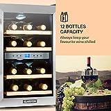 Klarstein Reserva - Getränkekühlschrank, Weinkühlschrank, 34 L, 12 Flaschen, 4 Regaleinschübe, leise, 2 Zonen, 7-18°C Temperaturbereich, LED-Innenbeleuchtung, schwarz-silber - 3