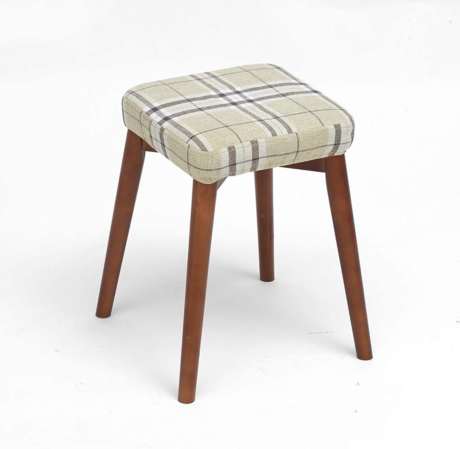 CXQ Fashion Creative Stools Beech Wood Dining Table Cloth Dressing Stool Home Bench Coarse Linen Striped Square Stool