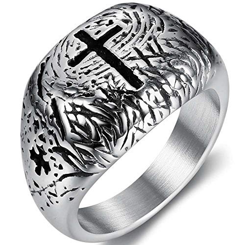 Jude Jewelers Retron Vintage Stainless Steel Christian Cross Religious Church Prayer Faith Signet Ring (Silver, 13)