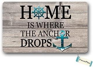 Funny Doormat - Home is Where The Anchor Drops Outdoor/Indoor Non Slip Decor Floor Door Mat Area Rug for Entrance 18X30 inch