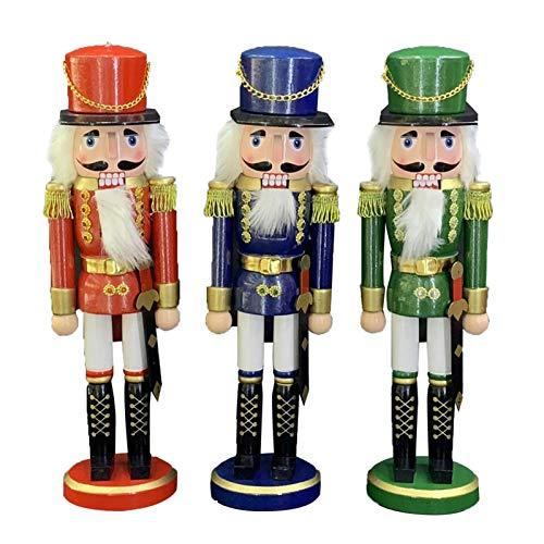 Weihnachten Nussknacker - 3 Stück 25cm/35cm Holz Nussknacker Soldat Figur Display für Weihnachtsschmuck Home Office Desktop Puppe Puppenspielzeug Geschenk