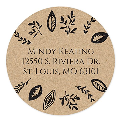 Kraft Leaves Self-Adhesive, Circle Address Labels - Personalized - Minimum Quantity 120