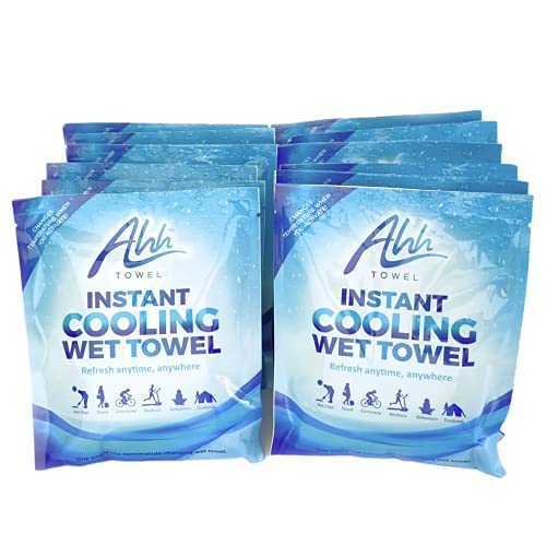 Ahh Towel - Instant Cooling Towels for Athletes, Cooling Towels for Neck and Face, Instant Cold Towels for Hot Weather - Soft, Wet, Disposable Sweat Towels for Working Out, Camping, and Sports (12)