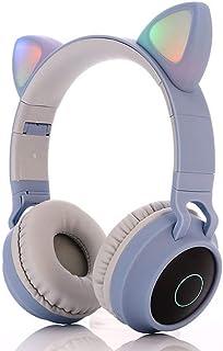 Cartoon Bluetooth Headphones,Cat Ear Bluetooth Headphones with Led Light, SD Card Slot, FM Radio,3.5mm Audio Jack,Wireless/Wired Foldable Kids On Ear Headphones for Boys Girls Adults (Light pink)