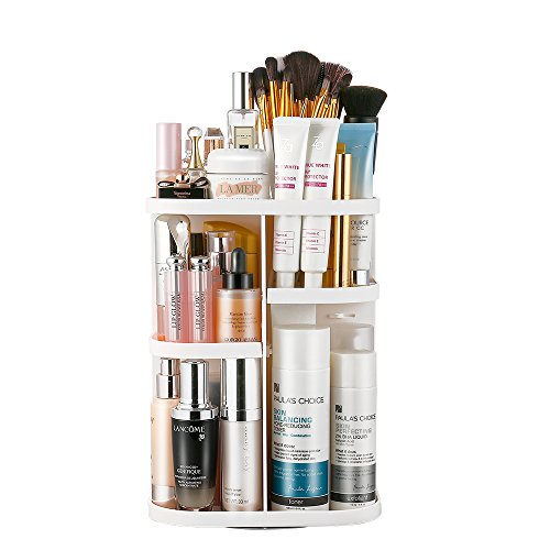 Jerrybox 360 Rotating Makeup Organizer, Spinning Makeup Organizers Vanity Organizer Rack for Countertop, Large Capacity for Bathroom, Square (White)