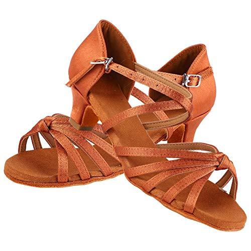 Zapatos de Baile Latino Niña,Calzado de Baile Suave y Cómodo Zapatillas de Baile de Salón Zapatos de Baile de Moda de Tacón para Niños y Niña, Marrón (34-Marrón)