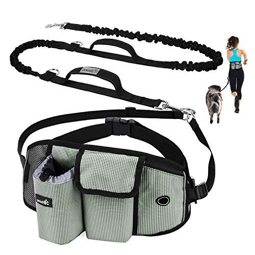 Pecute Guinzaglio per Cani, Guinzaglio Regolabile da Corsa Mani Libere Due Maniglie alle estremità Le Cuciture Sono Riflettenti al Buio Garantisce la Camminata Sicura di Notte