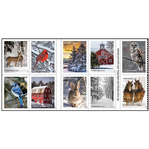 Winter Scenes Forever Postage Stamps Book of 20 First Class US Postal Holiday Celebrations Wedding Celebration Anniversary Traditions (20 Stamps)