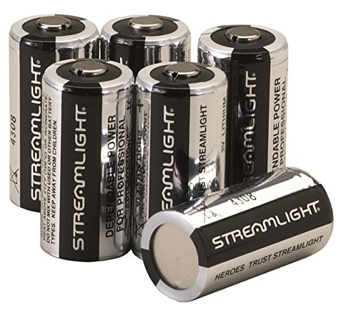 Streamlight 85180 CR123A Lithium Batteries, 6-Pack , Black