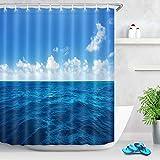 LB Duschvorhang Marine Ozean 150x180cm Meerwasser Bad Vorhang mit Haken Polyester Wasserdicht Antischimmel Badezimmer Gardinen