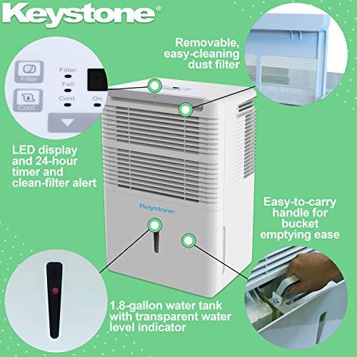 Keystone 50 Pint Dehumidifier with Electronic Controls, KSTAD504D, White