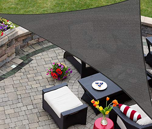 AsterOutdoor Sun Shade Sail Triangle 16' x 16' x 22.64' UV Block Canopy for Patio Backyard Lawn Garden Outdoor Activities, Graphite