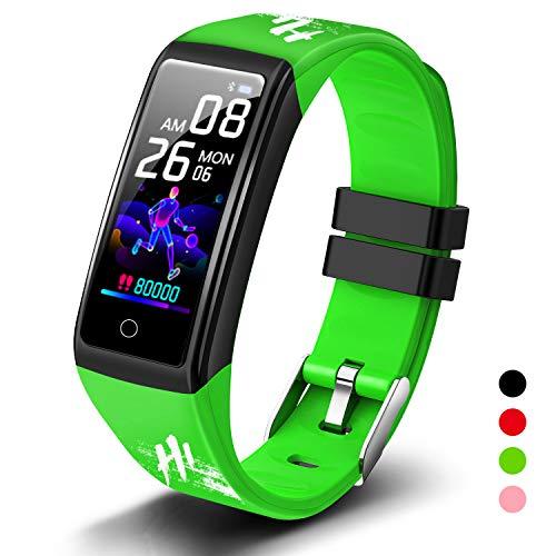Smartwatch Herren Damen Kinder Wasserdicht IP68 Pulsuhr Fitness Armband Smart Watch Fitnessuhr Smartwatch Bluetooth Schrittzähler Stoppuhr Fitness Tracker für Android iOS(Grün)