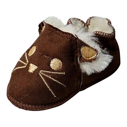 Hollert Baby Lammfellschuhe - Mickey Krabbelschuhe Hausschuhe Puschen Größe EUR 18/19, Farbe Braun
