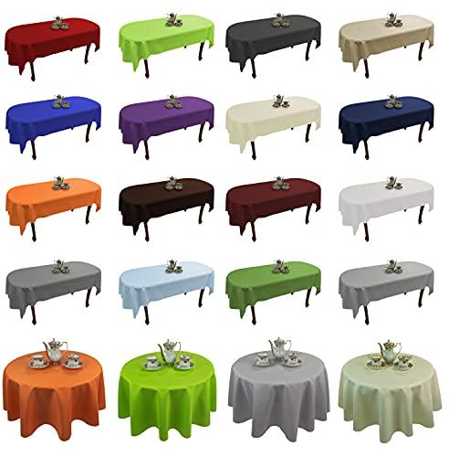 Tischdecke abwaschbar Tischläufer Gartentischdecke Leinen Optik Rechteckig Rund (Hellgrün, 110 x 160 cm)