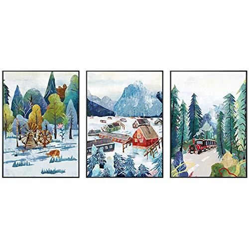 3 piezas acuarela lienzo pintura cuento de hadas pared arte tren barco bosque carteles e impresiones imagen para sala de estar decoración del hogar enmarcado