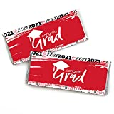 Big Dot of Happiness Red Grad - Best is Yet to Come - Candy Bar Wrapper Red 2021 Graduation Party Favors - Set of 24