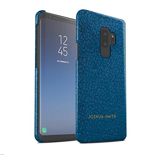 Gepersonaliseerd Individueel leder-effect mat hoes voor Samsung Galaxy S9 Plus/G965/Aqua Blue stempel design/initiaal/naam/tekst snap-on beschermhoes/case/etui