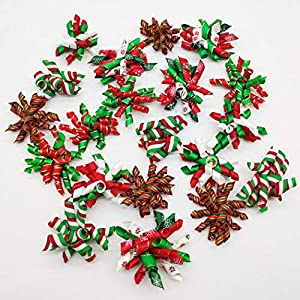 Hixixi 20PCS Pet Dog Cat Curves Bows Xmas Hair Bows Puppy Grooming Bows Hair Accessories with Rubber Bands for Christmas (Mixed)