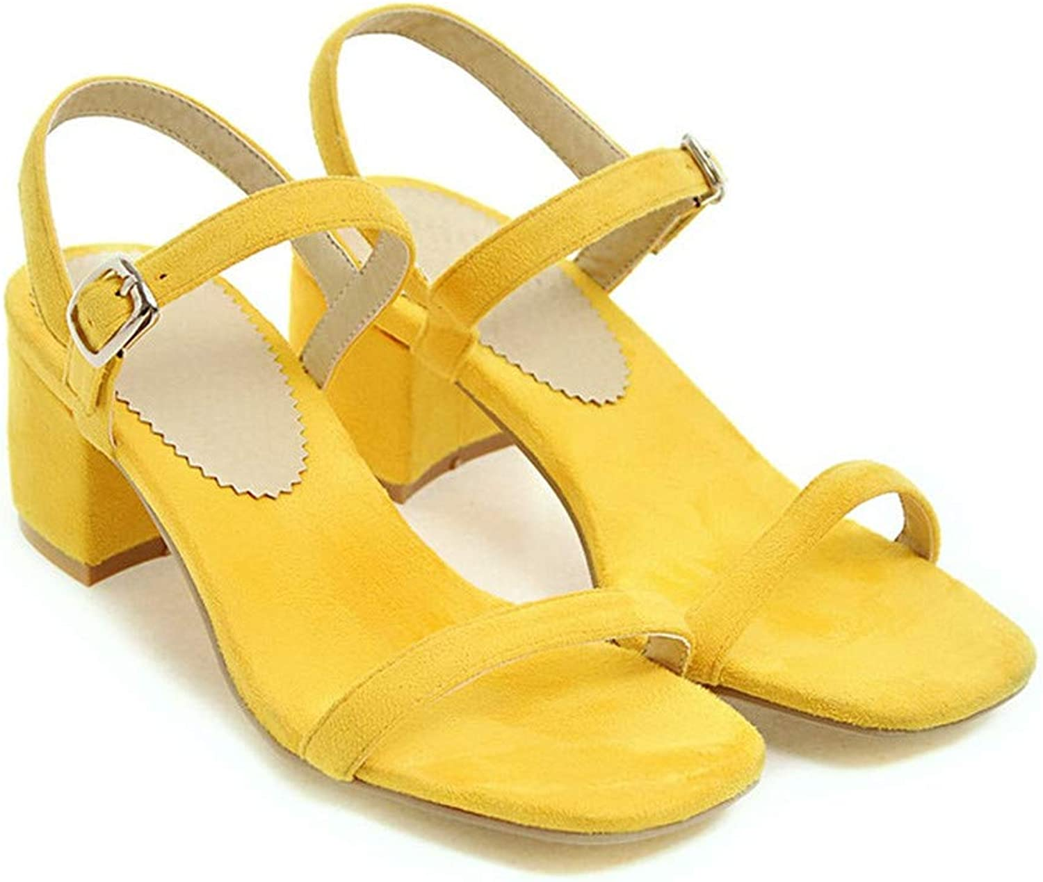 GAO-GEN1 shoes Women Sandals Summer Chunky Heel Sandals Open Toe Buckle Party Mid Heels Yellow Red Plus Size 9 42 43