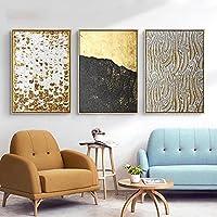 抽象的な黒の黄金のテクスチャ壁アートポスター高級ヴィンテージラインキャンバス絵画写真ミニマリストのリビングルームの家の装飾50x70cmx3フレームなし