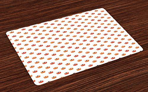 ABAKUHAUS Sushi Placemat Set van 4, Rauwe vis en rijst met kaviaar, Wasbare Stoffen Placemat voor Eettafel, Oranje Zalm Donkerblauw