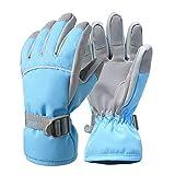 XTYaa Guantes de esquí cálidos guantes de invierno impermeables para niños y niñas, guantes de nieve antideslizantes con forro de felpa, color azul celeste, tamaño Large