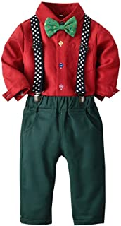 Baby Boys Clothes Sets Dot Bow Ties Shirts + Star Suspenders Pants Toddler Boy Gentleman Outfits Suits(0-5 Years)