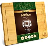 Extra Large Organic Bamboo Cutting Board with Juice Groove -...
