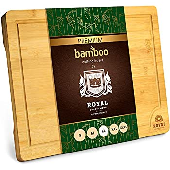 Extra Large Organic Bamboo Cutting Board with Juice Groove - Kitchen Chopping Board for Meat  Butcher Block  Cheese and Vegetables  XL 18 x 12
