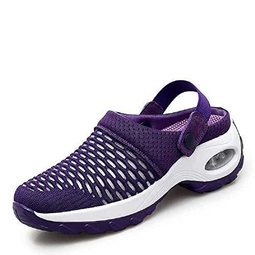 Orthopedic Walking Sandals Mesh Mules for Women, Mesh Slip On Air Cushion Garden Shoes, Summer Platform Mesh Mules Sneaker Sandals (7,Purple)