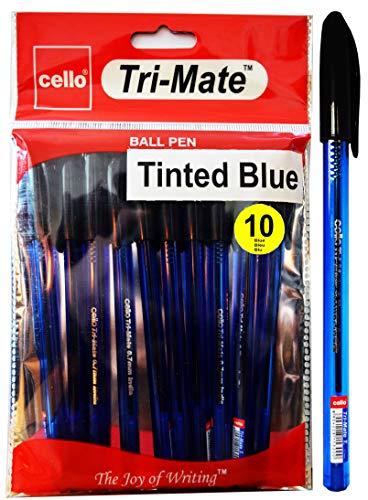 Bolígrafos de punta fina de cristal Tri-Mate de BIC Cello, 10 unidades, 0,7 mm, color Color azul. juego de 10
