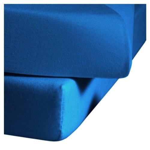 fleuresse Jenny C klassisches Jersey-Spannlaken, 100{6d776f763c10081e5bf9ce2b2ae444a1fbc33c6cfed45132c6c9ed979a0c4b2f} Baumwolle, mit praktischem Rundumgummi, Fb. Meeresblau, Größe 100 x 200 cm, auch passend für 90 x 190/200