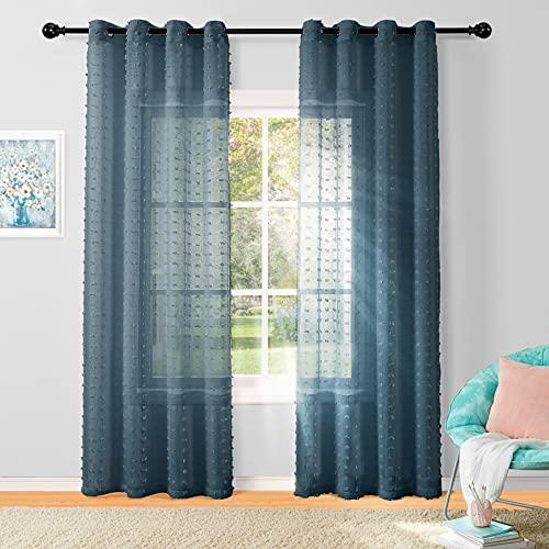 Pompom Sheer Curtains 84 Inch Length, Grommet Polka Dots Semi Voile Drapes Gauze Semi Sheer Window Treatment Decor for Living Room Kids Girls Nursery Bedroom, 2 Panels,Navy Blue
