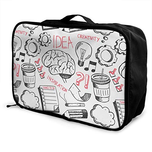 Koffertaschen Travel Luggage Trolley Bag Portable Lightweight Suitcases Duffle Tote Bag Handbag Idea Doodle Background Pattern Overnight Bag