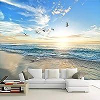 カスタム3D壁紙壁画ビーチカモメ海景自然の風景壁画リビングルーム寝室の壁の装飾-150x120cm